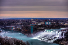 bridge over troubled water (kaimonster) Tags: niagarafalls canada americanfalls waterfall longexposure water river city bridge buffalo newyork vacation hdr hdrphotography