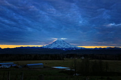 The Approaching Storm (louelke - recovering from surgery) Tags: mtrainier stormclouds sunset bluehour mountain volcano cascaderange washingtonstate