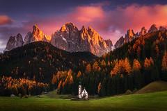 Autumn Faith (albert dros) Tags: churches trees dolomites sunrise sunset travel albertdros mountains italy autumn tourism church rocks