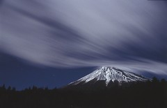 Cloud crashes in Mt. Fuji (miwa**) Tags: longexposure winter sky cloud white mountain snow film nature japan night clouds stars nikon fuji nightscape moonlit mountfuji fujisan moonlight nightsky nightview 28105mmf3545d f80 nikkor shizuoka  mtfuji startrails fujiyama miwa 30faves30comments300views nikonflickraward50mostinteresting