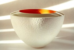 Rachael Woodman: Bevelled Bowl (Reciprocity) Tags: sunlight white texture film glass 35mm interesting nikon perfect glow shadows superia bowl surface loveit british glas 400asa artglass nikomat nikkormat printscan glassart tacomaartmuseum glaskunst kunstglas studioglass reciprocity bevelled rachaelwoodman neilwilkin