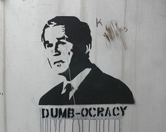 State of the Union (Jevaun) Tags: graffiti democracy bush stencil chinatown tag w georgebush monochromatic gw kinggeorge thedecider dumbocracy