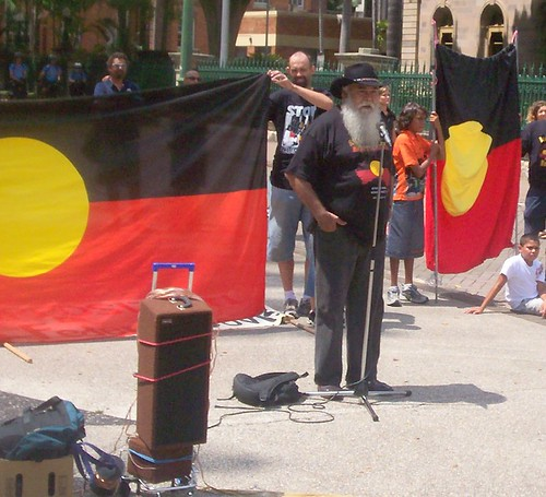 Bobby Weatherall - Invasion Day Rally and March, Parliament House, George St, Brisbane, Queensland, Australia 070126