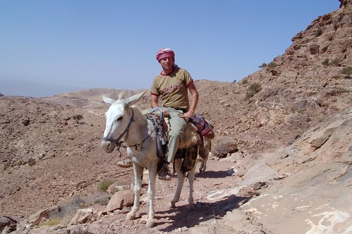 Jordan - Charles on donkey, Jabal Haroun