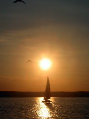 Evening sailing: Sunset on the Ammersee near Munich, Bavaria