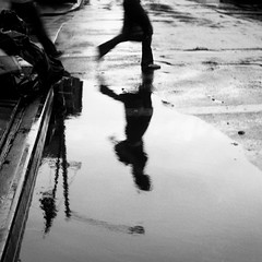 love you HCB (davebias) Tags: blackandwhite reflection vintage puddle squareformat foldingcamera balda artlibre levelandtap