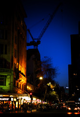 One-Night-on-Queen-St (NotforSale) Tags: queenst auckland newzealand lomo night sky crane street car pedestrians