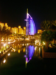 Billowing Sail... (Curlylocks) Tags: light reflection topf25 architecture night wow dubai emirates burjalarab mybest unitedarabemirates jumeirah burj madinat 4300