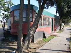 tram diner sidewalk fresno streetcar