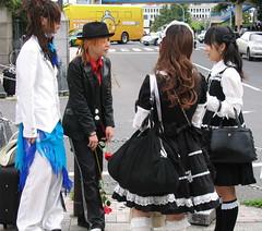 Black & White with a Bit of Red & Blue (Danburg Murmur) Tags: japan hair tokyo costume tie skirt jacket harajuku   japanesegirls crossdresser harajukugirls  tky maidcostume