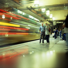 the last of the tunnel shots (for 2 years) (jon madison) Tags: seattle film public wow downtown fuji 500v20f tunnel fv5 mat westlake experience mf e6 yashica closure yashicamat 2years provia400 wow2005 ur98122 jonmadisoncom