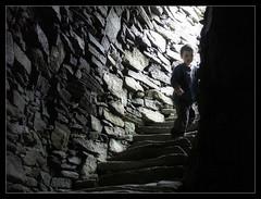 Exploring the Broch (Iguana Jo) Tags: scotland scozia isleoflewis hebrides carloway duncharlabhaigh broch kid bimbo scale stair stone pietra
