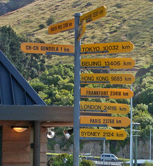 Guidepost at Christchurch Gondola Station (frolickauai) Tags: christchurch gondola mountcavendish nz newzealand guidepost geotagged
