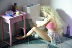 Black Sambuca (professional recreationalist) Tags: doll barbie toilet brucedean professionalrecreationalist puke vomit stevencolbert throwup 1758 projectilevomit girlsifwecantseeyourribsyoureugly