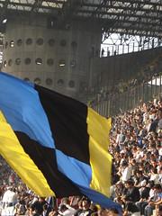 bandierone (sullina) Tags: italy milan italia colours stadium milano inter stadio bandiera tifosi fcinternazionale ssiro neroblu
