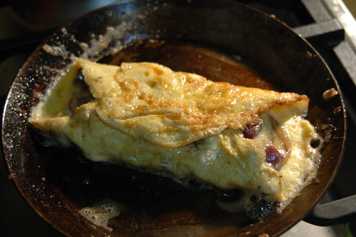 speck and leek omlette