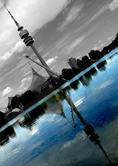 Congratulations, you got a twin! (HaMeD!caL) Tags: twin reflection tower olympicstadium photoshop munich germany hamedical symmetry tilt topf25 wow interestingness topf50