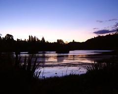 Lake Karapiro Twilight (EssjayNZ) Tags: 2005 pink sunset newzealand reflection tag3 taggedout reflections tag2 tag1 shine bestviewedlarge tranquility serenity waikato idyll essjaynz lakekarapiro taken2005 sarahmacmillan