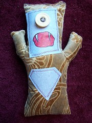 MacDougal (domo_arigato) Tags: mosoctober2005 monster scray vintage fabric tan brown blue grey mos softie toy stuffed animal doll handmade handcrafted sewn