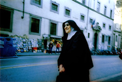 One happy nun (ale2000) Tags: street blue internationalexpositionpeople black bus smile happy florence interestingness xpro crossprocess cosina joy smiles nun busstop via photowalk firenze reminder felice suora autobus 1000 smallthings happyness ridere martelli tentwentyfour viamartelli suorina ridente happynun byale2000