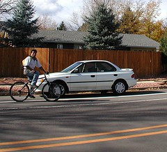 Wrong way cyclist on Folsom, Boulder Colorado