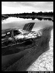 Wrongturn (Jeff T. Alu) Tags: photoshop black white digital car river pollution surreal moody lonely dark outdoors bleak blackandwhite deserted illusion zen medetation medetate power impact graphic doom bright earthy dirt gritty intense visionary heat passion 4x4 remote california desolate dreamy nightmare euphoric