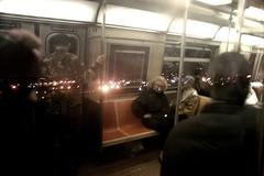 F train (.brian) Tags: night reflection ftrain brooklyn people nyc city