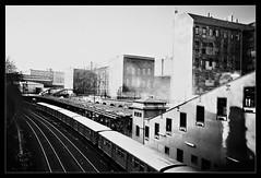Train & City (Iguana Jo) Tags: berlin eastberlin deutschland germany train station treno stazione bn bw