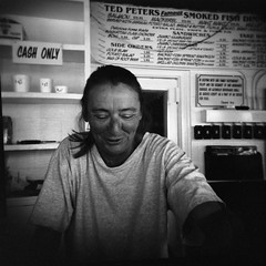 Counter Waitress (robholland) Tags: bw fish print holga florida stpete waitress bowlong tedpeters creamme bowbw