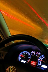 red light (Ben McLeod) Tags: longexposure light red car rain vw night volkswagen interestingness driving flickrimportr passat