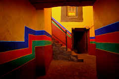Tibetan color (melser) Tags: 2005 door red color fall yellow stairs stripes tibet lhasa monestary