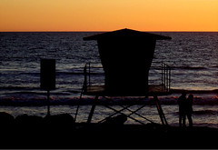 Lifeguard Tower Under Clear Sky (EthnoScape) Tags: oceanside lifeguardtower sunset silhouette