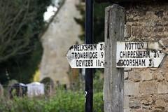 Wiltshire signpost (Dean Ayres) Tags: wiltshire laycock signpost roadsign church melksham trowbridge devizes notton chippenham corsham