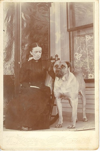 Woman with a mastiff by Antique Dog Photos.