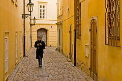 (sam b-r) Tags: street camera woman girl prague small praha praga stranger cobblestones narrow s51901591 sambrimages