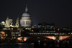 St Paul's across the Thames (Lil [Kristen Elsby]) Tags: uk bridge london church thames skyline architecture night river cathedral unitedkingdom stpauls getty christopherwren stpaulscathedral gettyimages cityoflondon blackfriarsbridge gettyimagesonflickr