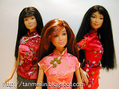 Babes in Cheongsams (zelciia) Tags: dolls chinese barbie lea kira chinoiserie cheongsams asianbarbies orientaldolls chinesedolls