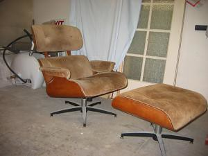 Suede Eames Lounge by Plycraft