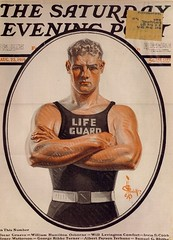 "J.C. Leyendecker 1919 ""Lifeguard"" (Mamluke) Tags: old male illustration vintage evening belt artist arms post alt saturday lifeguard scowl jc mann 1919 viejo oud hombre hommes cru illustratie vieux homme crossed vecchio ilustración leyendecker vendimia muscled illustrazione 男性 annata uralt abbildung mamluke jcleyendecker wijnoogst"