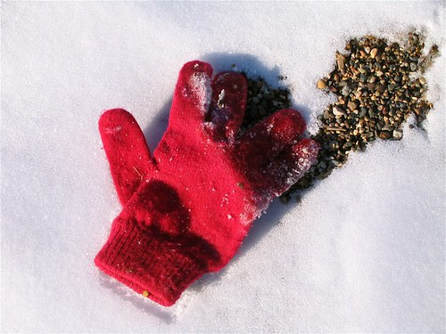 Lost -- photofriday red winter lost glove found snow photofridayfoundobjects friday: objects