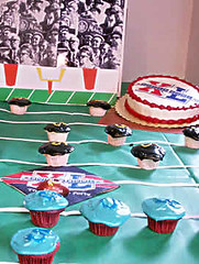 Week 41: Super Bowl Match Between Angel Food and Devils Food Cupcakes (cupcakequeen) Tags: party food dog coffee angel cupcakes baking football devils super bowl icing superbowl frosting footballcupcakes
