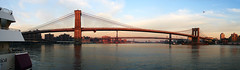 [Panorama] Brooklyn, Manhattan and Williamsburg Bridges (Diego3336) Tags: nyc newyorkcity bridge sky panorama usa sun ny newyork water brooklyn america port reflections river pier boat manhattan sony structures bridges landmarks landmark panoramic east brooklynbridge manhattanbridge eastriver williamsburg bklyn southstreet seaport williamsburgbridge sonyh1 pier17 microsoftice