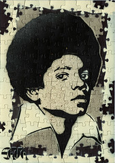 Satta Puzzled 01 -- ABC, easy as 123 ... (Satta van Daal) Tags: africa art painting graffiti stencil afro pop puzzle michaeljackson jigsaw aerosol pochoir satta jackson5