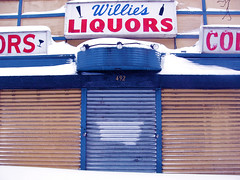 My mecca was closed (LugoLounge) Tags: snow jerseycity closed sad shutters blizzard liquorstore willies