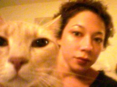 milo and me (Malingering) Tags: 2002 cats pets selfportrait cute me animals cat kitten feline milo sony pda kittens clie cuteness sonyclie