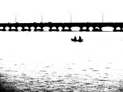 DSC03816 (dotun55) Tags: bridge black water boat sketch fishermen lagoon shades lagos canoe lamppost nigeria effect thirdmainlandbridge