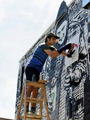 Applying the American Flag (Eddie C3) Tags: newyorkcity streetart art graffiti graffitiartist flagday astoriaqueens wellingcourt wellingcourtmuralproject icysot 6thannualwellingcourtmuralproject