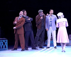 "(L to R) James Patterson as Andy Lee, Patrick Ryan Sullivan as Julian Marsh, Ron Wisniski as Mac and Zachary S. Berger as Billy Lawlor in the 2010 Music Circus production of ""42nd Street"" at the Wells Fargo Pavilion August 24-29.  Photo by Charr Crail."