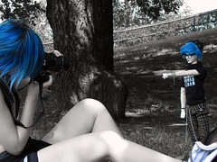 royal blue+B&W (tarengil) Tags: camera trip blue boy people white black detail tree garden asian doll outdoor sd bjd abjd outing