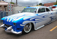 '50 Ford 2-door lead sled (SteveMather) Tags: blue white ford flames headlights front bumper customized custom cruiser lowered 1950 whitewall slammed headlamps dagmar 2door leadsled twodoor lakepipes frenched benhurchariotrace